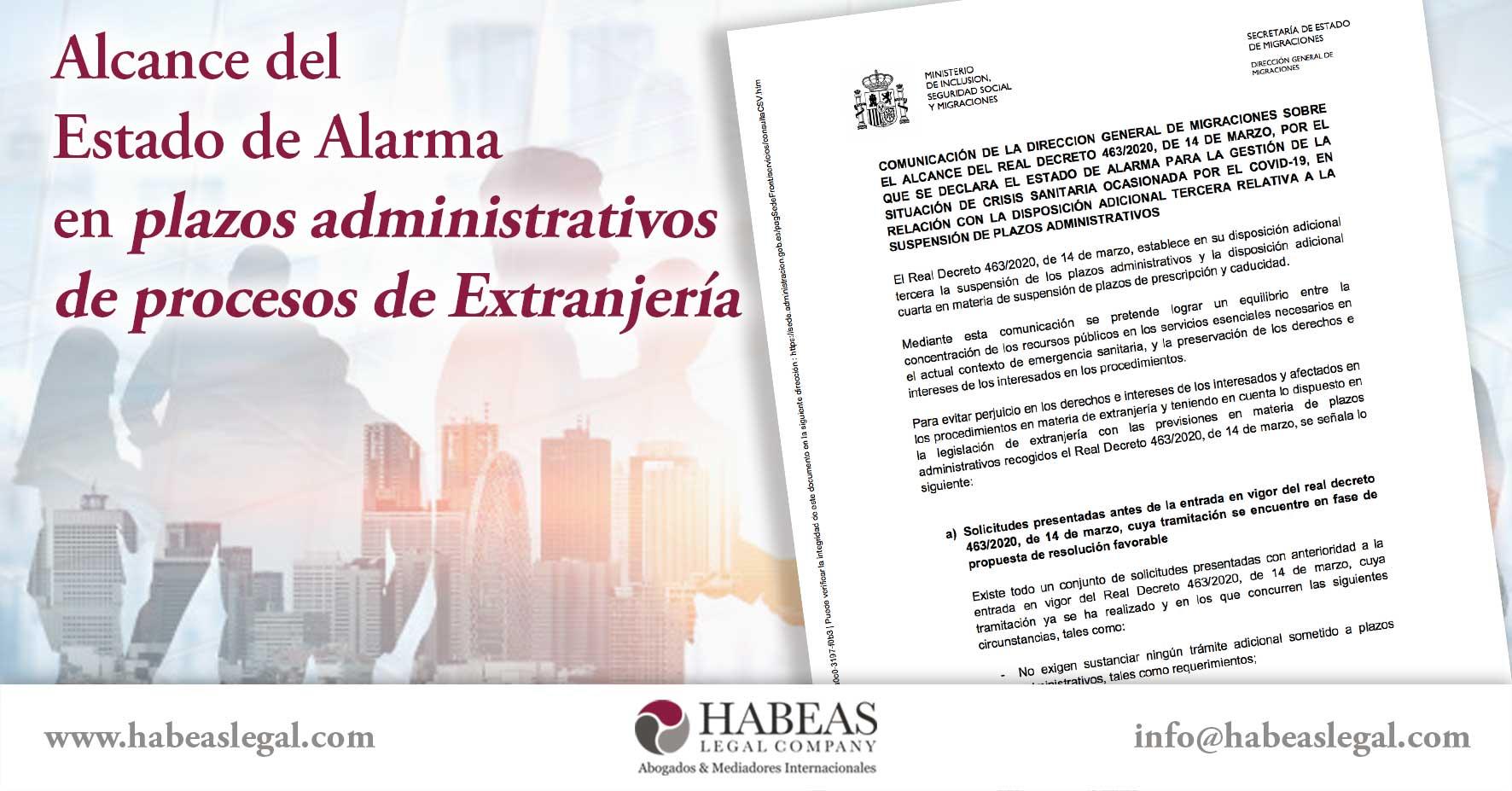 Estado de alarma en procesos de extranjería habeas legal