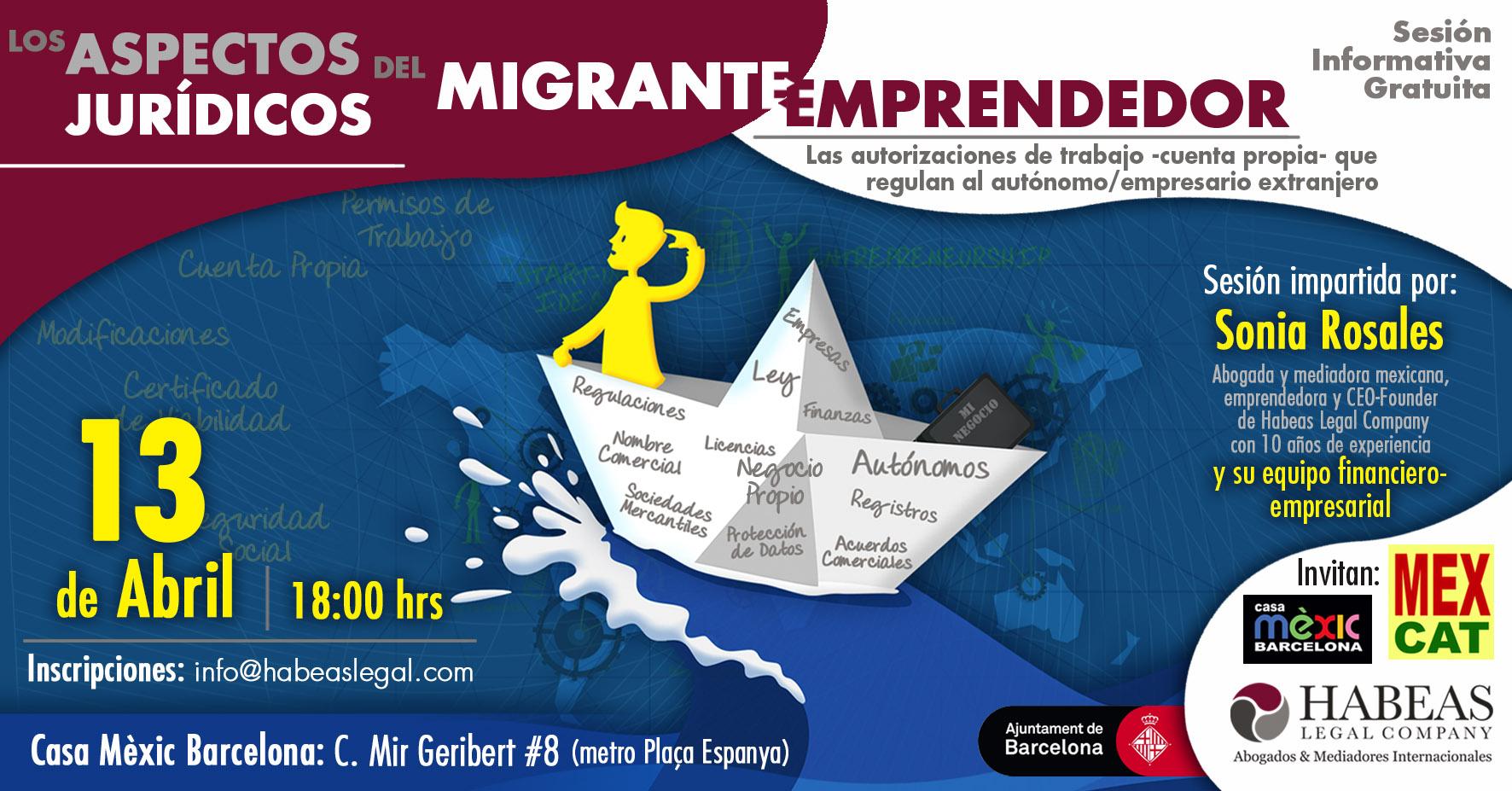 """Aspectos Jurídicos Emprendedor ABR evento FB - """"Los aspectos jurídicos del migrante emprendedor"""": sesión informativa gratuita -Abril-"""