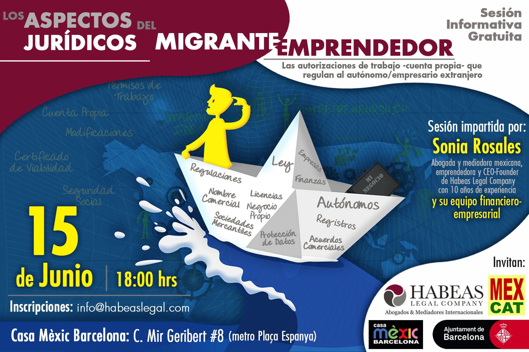 """Aspectos Jurídicos Emprendedor Habeas MEXCAT JUN - """"Los aspectos jurídicos del migrante emprendedor"""": sesión informativa gratuita -Junio-"""