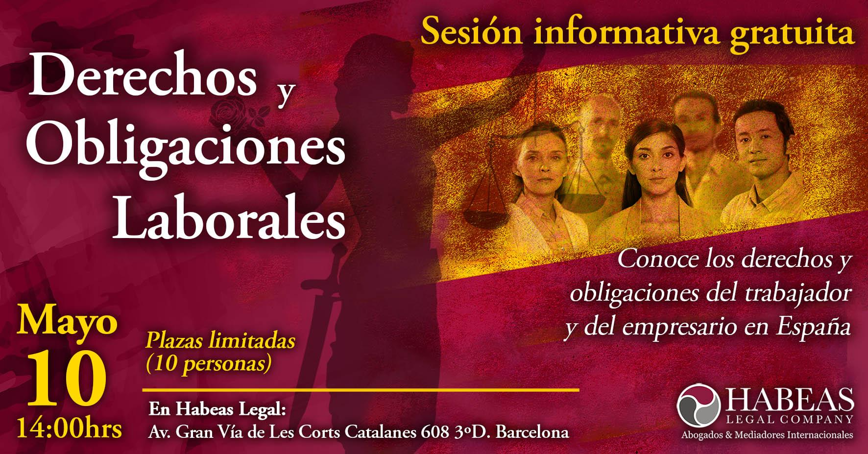 """Derechos y Obligaciones evento Fb May - """"Derechos y Obligaciones Laborales"""" - sesión informativa grupal gratuita - Mayo"""