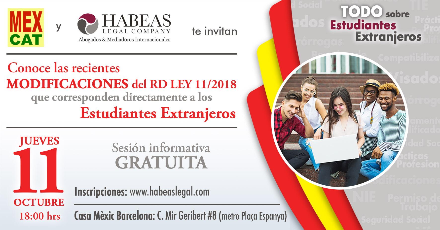 """Evento Modificaciones Habeas - """"Los Estudiantes Extranjeros y las Modificaciones del RD LEY 11/2018""""; sesión informativa gratuita"""