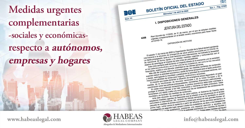 Medidas complementarias autonomos empresas hogares Habeas Legal - Estudiantes Extranjeros
