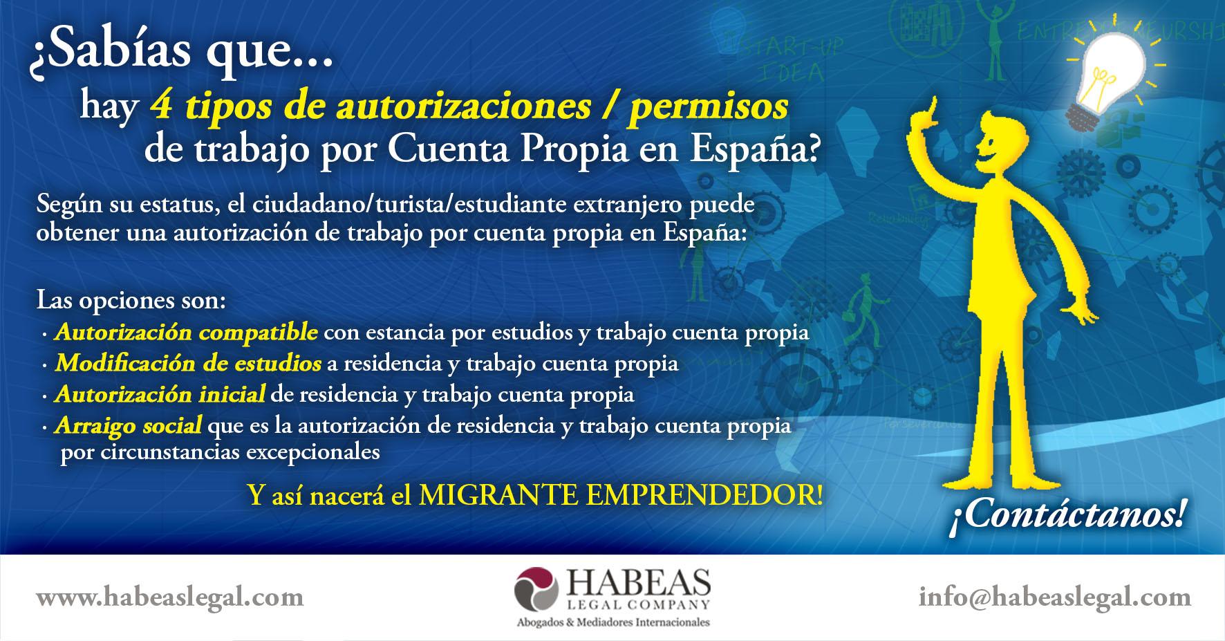 Opciones permisos Migrante Emprendedor - ¿Sabes cuáles son los tipos de permiso de trabajo por Cuenta Propia en España?